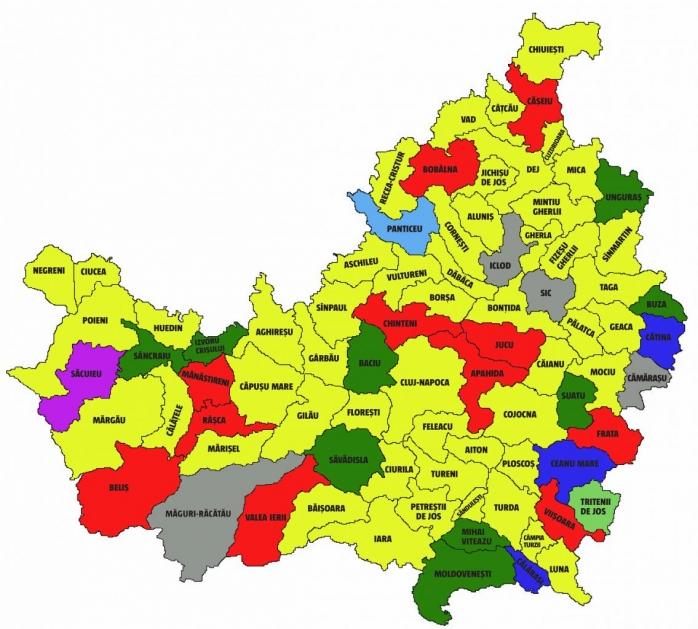ALEGERI LOCALE 2020. HARTA politică a județului Cluj. Cine sunt cei 81 de primari?