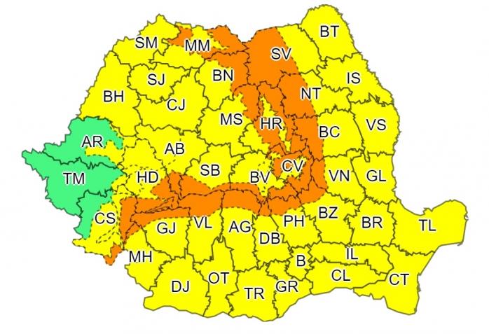 Cod galben de ploi și vânt puternic, în mare parte a țării. Vremea la Cluj
