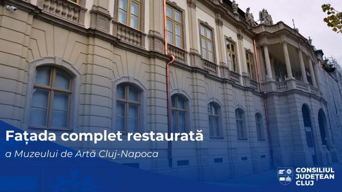 Fațada Muzeului de Artă din Cluj-Napoca a fost restaurată