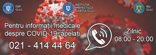 Linie telefonică DSP nouă pentru informații despre COVID19, disponibilă de azi la Cluj
