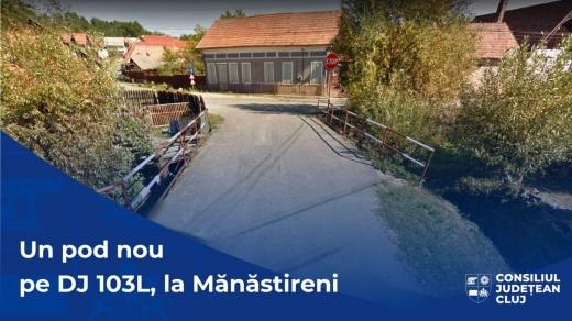 Pod nou în centrul localității Mănăstireni. Podul va îmbunătăți accesul către terenurile agricole din localitate