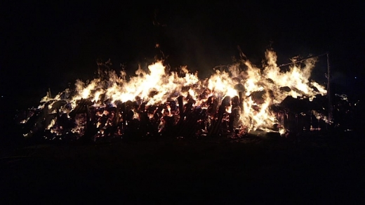 Incendiu puternic la un depozit de furaje, pornit de copii care se jucau cu petarde - FOTO/VIDEO