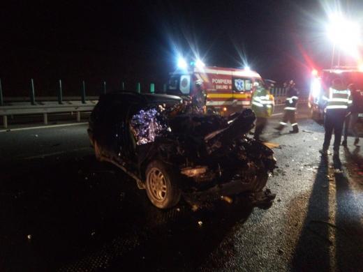 ACCIDENT GRAV pe Autostrada A3, ieșirea către Nădășelu. Un tânăr de 20 se află în STARE CRITICĂ. FOTO/VIDEO