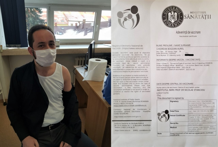 """Primul preot vaccinat anti-COVID din Cluj! """"M-am vaccinat pentru că slujesc într-un spital"""""""