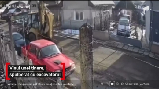 VIDEO. Tânără din Câmpia Turzii, lovită de un excavator în fața casei de un șofer beat