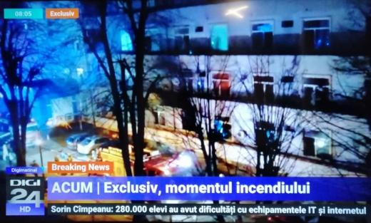 Incendiu la Spitalul Matei Balș din București. Captură TV Digi24
