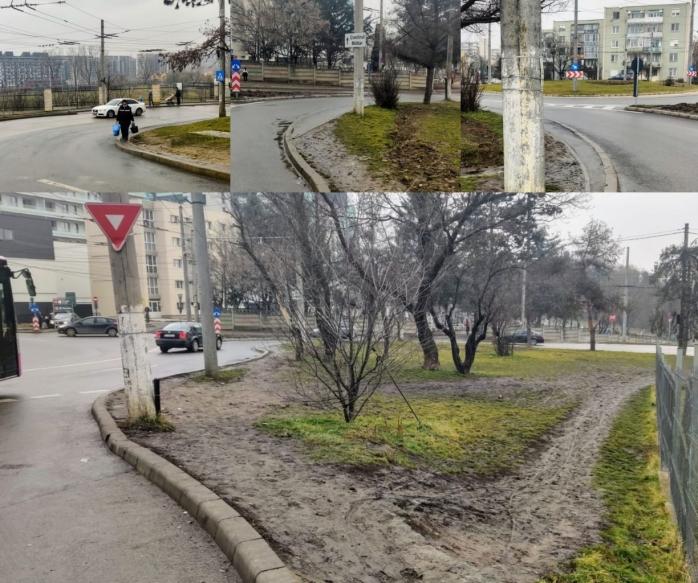 Mai simplu să mergi cu mașina la Baza Sportivă decât pe jos. Trotuarul lipsește, iar trecerea de pietoni pusă greșit. FOTO