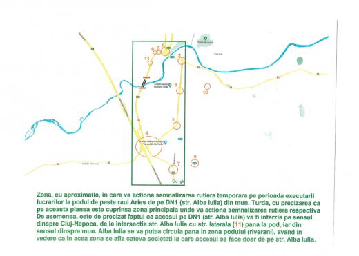 Se închide traficul pe podul peste râul Arieș, Turda de azi. Plan de deviere al circulației.