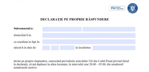 Declarația pe propria răspundere și adeverința de angajator, obligatorii pentru circulația după orele 18:00 și 20:00