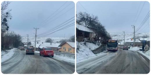 Autobuz blocat în Sălicea din cauza poleiului. VIDEO/FOTO