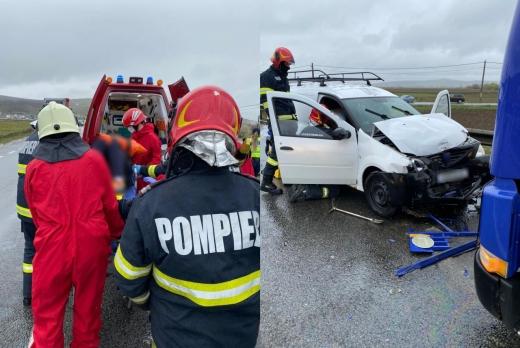 Accident cu două TIR-uri și o mașină pe centura ocolitoare Vâlcele-Apahida