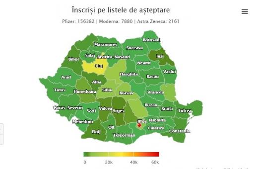 Peste 25.000 de clujeni așteaptă vaccinarea anti-COIVD. Între timp, în Vrancea, Giurgiu și Mehedinți nu este NICIUN om înscris pe listele de așteptare