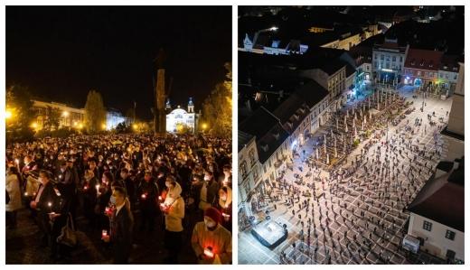 FOTO. Distanțarea socială a lipsit la Slujba de Înviere din Cluj-Napoca. Brașovul, un model pentru alții
