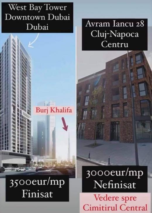 Clujul, mai scump decât Dubaiul? Apartamente cu vedere la cimitir vs vedere spre Burj Khalifa.