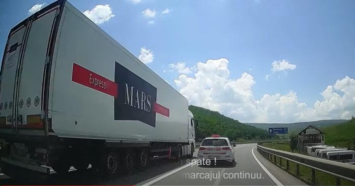 VIDEO. Șofer de TIR, ca la raliu pe centura Apahida-Vâlcele. Depășire EXTREMĂ peste marcaj continuu
