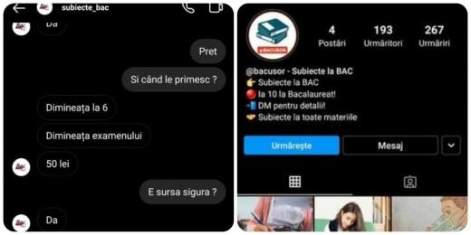 ATENȚIE elevi! Subiecte FALSE la Bacalaureat, vândute cu 50 de lei pe Instagram