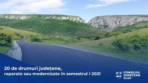 Lucrări pe 20 de drumuri și sectoare de drum, în primele șase luni ale anului, la Cluj