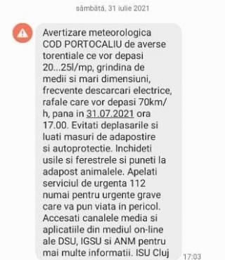 Avertizare RO-ALERT în mai multe localități din Cluj! Copaci doborâți drum