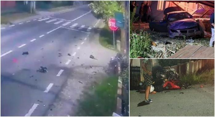 VIDEO. ACCIDENT teribil, filmat în Vișeu  de Sus! Un medic și un motociclist au murit