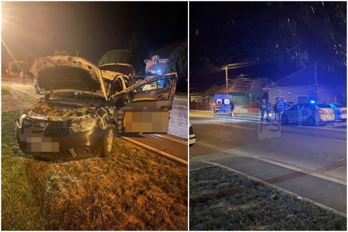 Un livrator de pizza s-a răsturnat DE TREI ORI cu mașina, pe drum drept